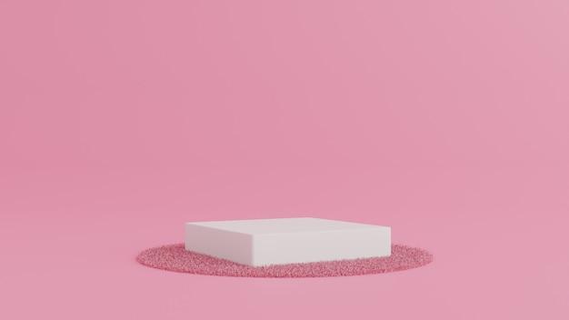 製品、最小限のコンセプトのカーペットとピンク色の背景に表彰台を立てます。 3dレンダリング