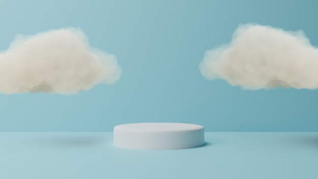 Подиум с облаком на пастельных синем фоне. 3d-рендеринг