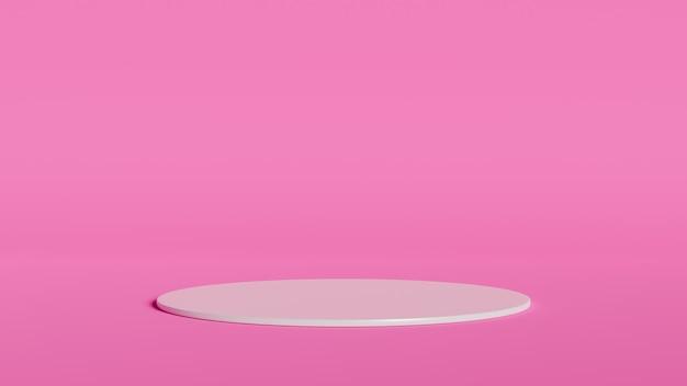 製品のピンク色の背景に抽象的な幾何学形状の白い色の表彰台。 3dレンダリング