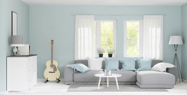 3d рендеринг современной большой гостиной с деревянным полом, пастельно-зеленой стеной