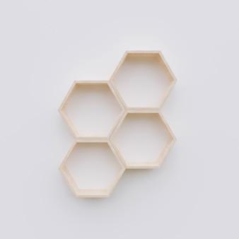 Полка с шестигранной копией пространства, шестиугольник 3d-рендеринга