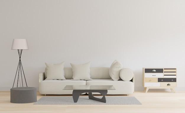 3dレンダリングテーブルとカーペットを持つ白いリビングルーム