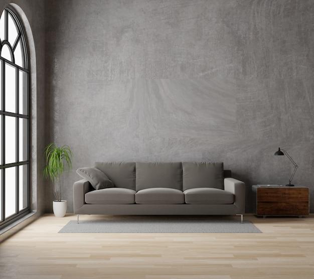 3d рендеринг лофт в стиле гостиной с коричневым диваном из необработанного бетона, деревянный пол, большое окно, дерево