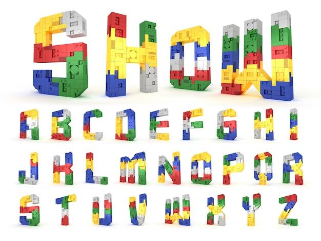 アルファベットカラフルなブロックのレンガのタイプパースペクティブフォント3dレンダリングの白い背景