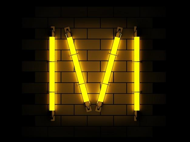 Неоновый свет алфавита 3d рендеринга на фоне кирпича с отсечения путь