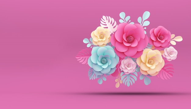 Цветочная бумага, 3d-рендеринг