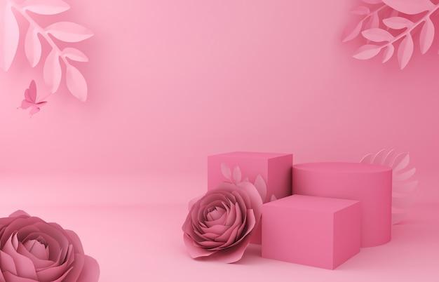 Отображение фона для презентации косметической продукции. пустая витрина, перевод иллюстрации цветка 3d бумажный.