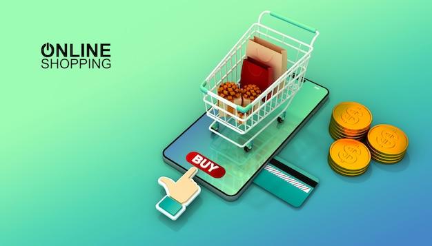 Интернет-магазин, мобильное приложение, 3d-рендеринг иллюстрации