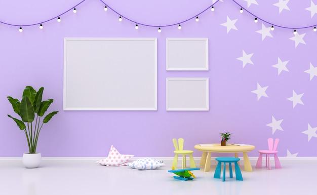 Интерьер детской комнаты с милым украшением и пустыми рамками для фотографий на стене. 3d рендеринг