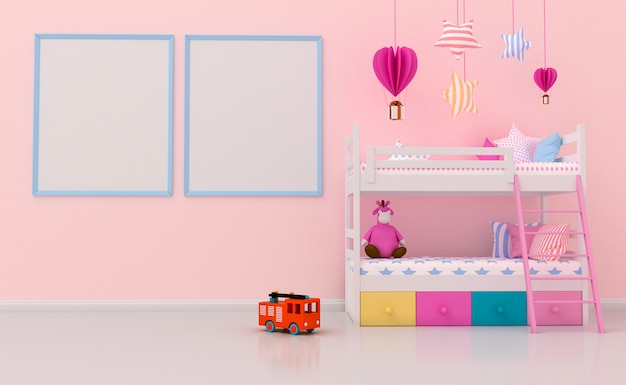 かわいい装飾と壁に空白のフォトフレームを持つ子供部屋のインテリア。 3dレンダリング