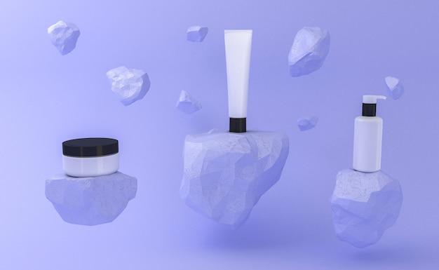 Презентация косметического продукта. пустая упаковка. 3d рендеринг