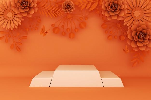 Отображение фона для презентации косметической продукции. пустая витрина, 3d перевод, бумага цветка.