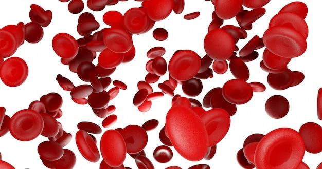 赤い血球、流れ、白、黒、背景、3d、下