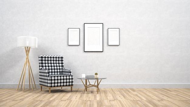 インテリア背景、3dレンダリングのポスターフレームをモックアップ