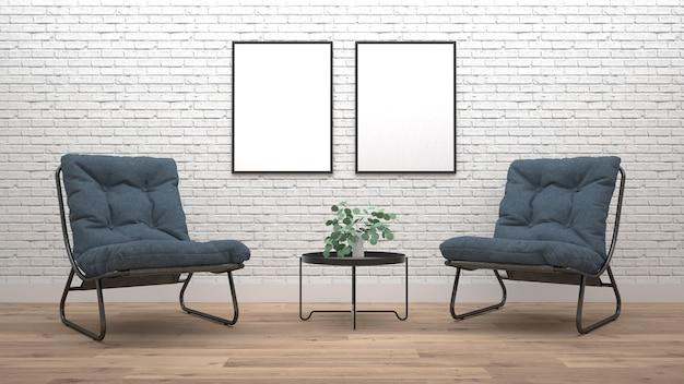 Современный интерьер гостиной с креслом. 3d рендеринг