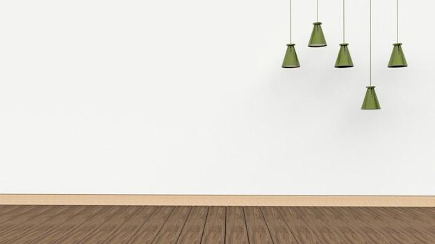 空の白い壁の背景にランプ。 3dレンダリング。
