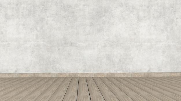 木製の床にコンクリートのインテリアデザイン。 3dレンダリング。