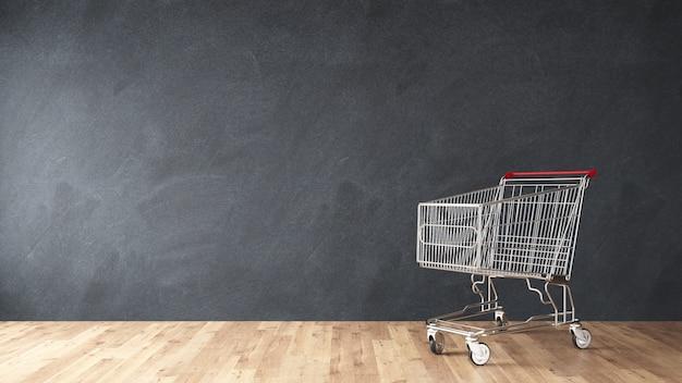 部屋の壁に市場のショッピングカート3dレンダリング