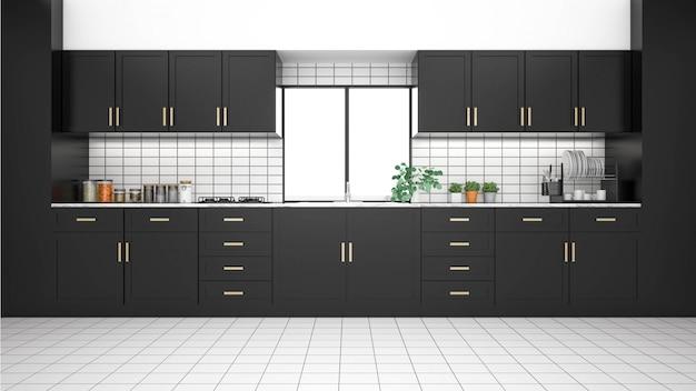 Современный интерьер кухни с мебелью. 3d-рендеринг