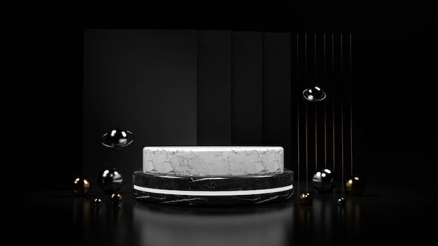 Абстрактная черная предпосылка с подиумом геометрической формы для продукта. 3d-рендеринг