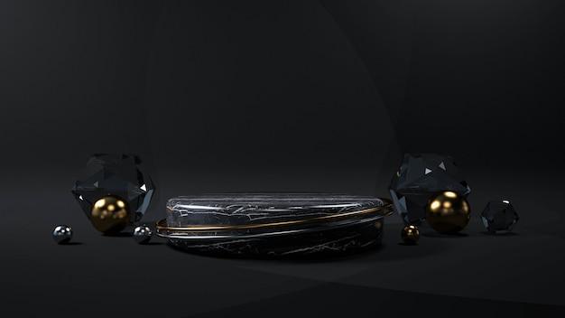 製品の幾何学的形状の表彰台と抽象的な黒の背景。 3dレンダリング