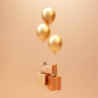 3d визуализация золотой подарочной коробке с фоном воздушного шара