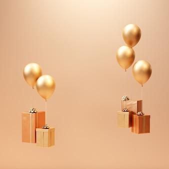 3d визуализация золотой подарочной коробке с воздушным шаром минимальный фон