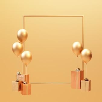 3d визуализация золотая подарочная коробка с воздушным шаром минимальный фон кадра