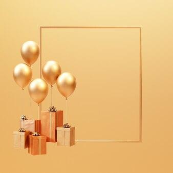 3d визуализация золотая подарочная коробка с воздушным шаром на раме минимальный фон