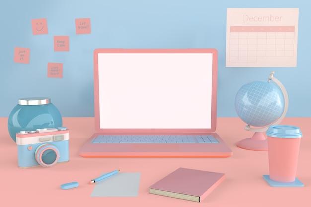 モックアップデザインのための白い空のスクリーンディスプレイと3dピンクのラップトップ