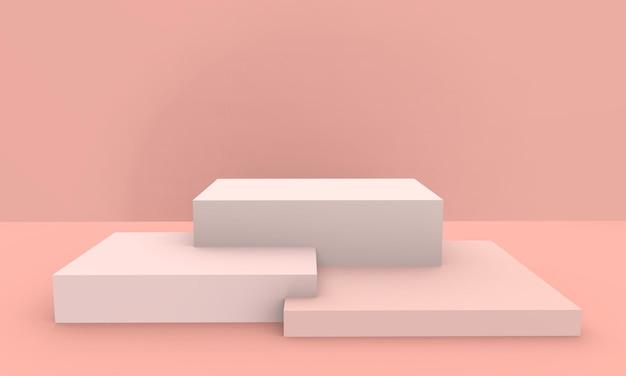 3d визуализации - персик розовый цвет подиум продукт дисплей фон
