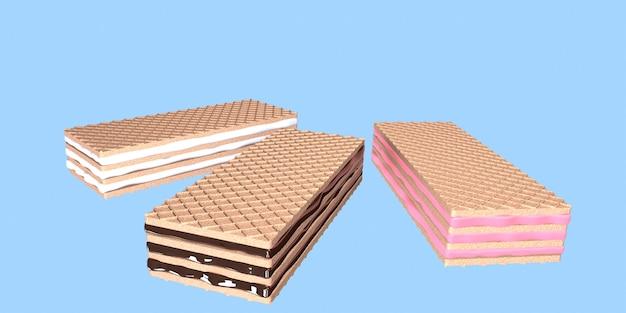 3d визуализация хрустящих вафель со сливками