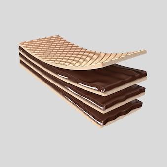 3d визуализация хрустящий вафельный шоколад