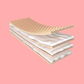 3d визуализации хрустящее молочко, хлеб, пекарня, печенье, вафли на розовом фоне