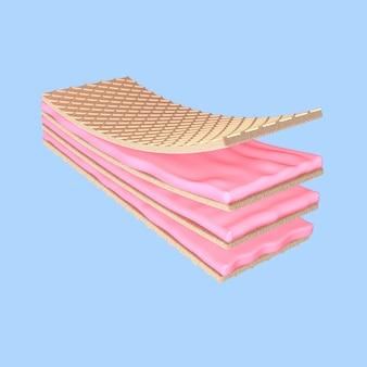 3d визуализация хрустящая вафельная клубника