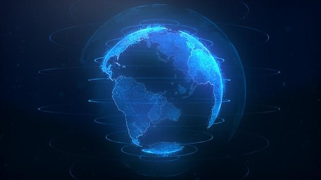 3d рендеринг абстрактный глобус виртуальной планеты земля. планета цифровых технологий.
