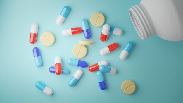 3d визуализация. ассорти из фармацевтической медицины таблетки таблетки и капсулы на синем.