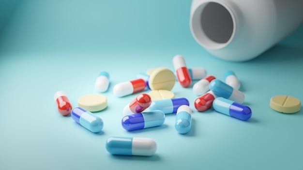 3d визуализация. ассорти из таблеток и капсул фармацевтической медицины