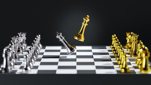 3d-рендеринг. шахматная настольная игра для концепций лидерства.
