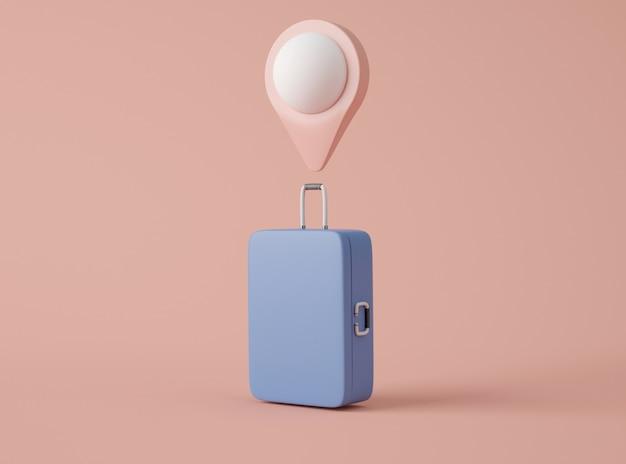 3dイラストレーション。旅行スーツケースとマップポインターのモックアップ。