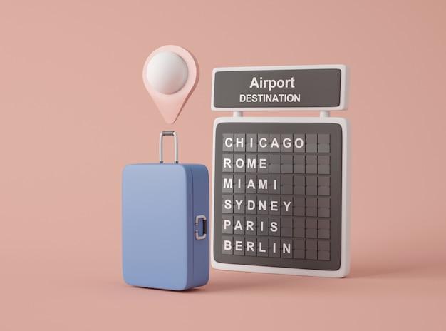 3dイラストレーション。旅行アイコンのモックアップ。