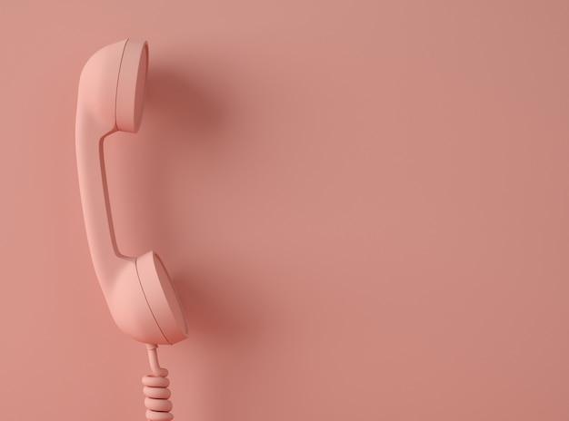 3d иллюстрация старинный телефон со спиральным кабелем.
