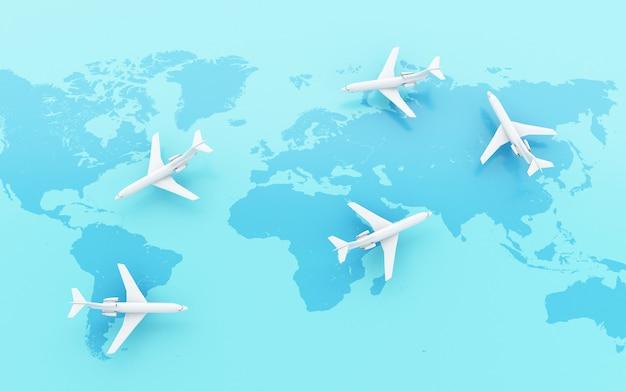 3d飛行機が地図ポインタで世界中を飛んでいる。
