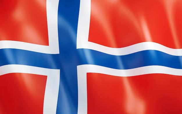 ノルウェーの3d旗。