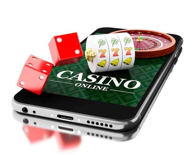 3d смартфон с рулеткой и кубиками. онлайн-концепция казино.