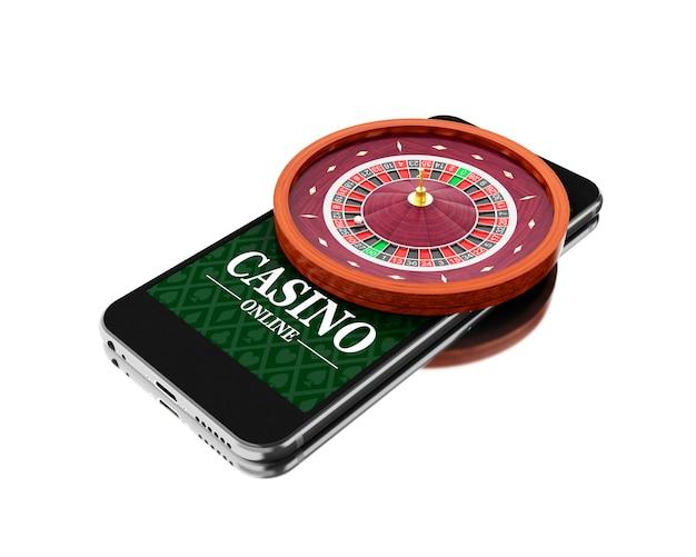 ルーレットと3dスマートフォン。オンラインカジノのコンセプト。