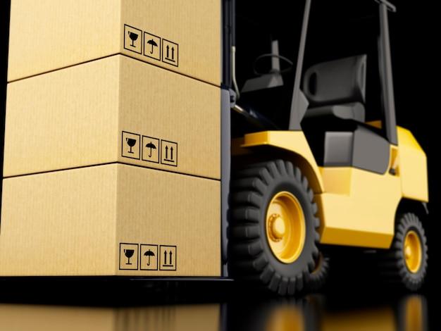 段ボール箱が付いている3dのフォークリフトのトラック。