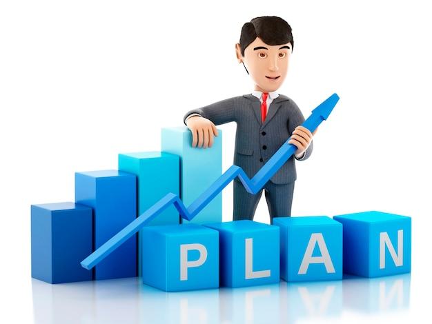 3d成長グラフと単語計画を持つビジネスマン。