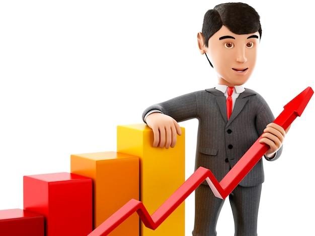 3d成長グラフを持つビジネスマン。
