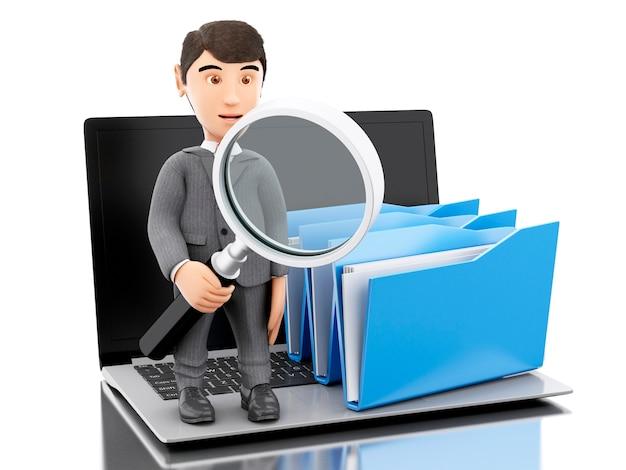 3d бизнесмен рассматривает папки.